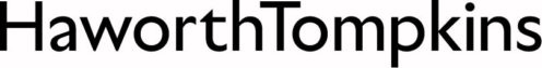 The logo of Haworth Tompkins showing the two words in black font
