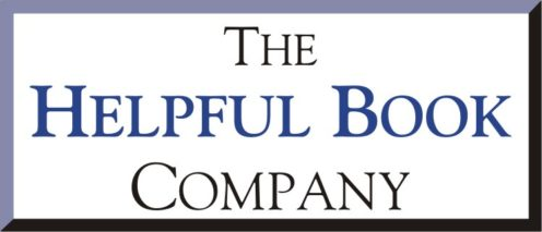 The logo of the helpful book company, spelling out the company name in blue and black